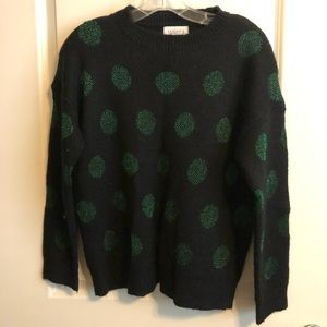 Black Sweater with Green Polka Dots